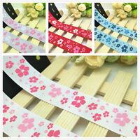 NEW DIY 1 5 10 Yards 1'' 25mm Floral Printed Grosgrain Ribbon Hair Bow Sewing J