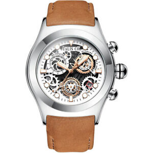 MENS TALIS Co. CHRONOGRAPH WATCH SKELETON DIAL, BROWN LEATHER STRAP IN BOX