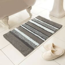 Tony's Textiles Luxury Soft 100% Cotton Washable Bath Mat with Stripe Design