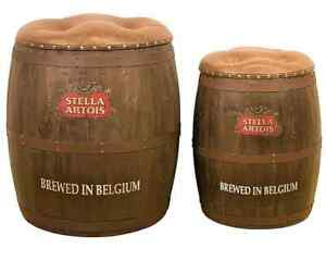 Stella Artois Barrel Storage Seat Chair Stool Faux Leather Pub Seat Bar