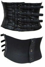 Womens Black Wide Faux Leather Corset Waist Adjustable Steampunk Gothic Belt New