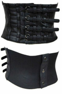 Womens Black Wide Faux Leather Corset Waist Adjustable Steampunk Gothic Belt New
