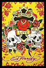 FRAMED Ed Hardy In Memory of Love 36x24 Tattoo Art Print Poster Roses and Skulls