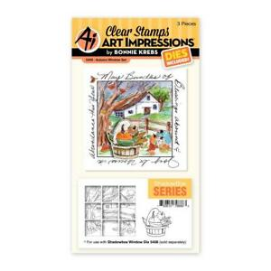 New Art Impressions AUTUMN FALL SHADOWBOX clear Rubber Stamp & Die Set
