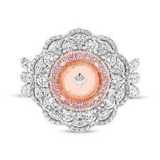 2.22 TCW 18K Multi Tone Gold Natural Fancy Pink Round Diamond Semi Mount Ring