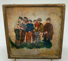 Small Glass Reverse Painting on Gold Leaf 7 Men Hats Sandals Framed Art History