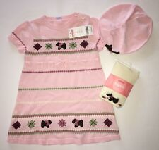 NWT Gymboree Girl Detective 3T Pink Scottie Dog Sweater Dress Tights & Beret Hat