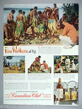 Canadian Club Whiskey PRINT AD - 1950 ~~ fire-walkers of Fiji, walk on hot coals