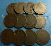 12 Liberty Head V Nickel (Barber)  Collection    Lot-LHNSC12