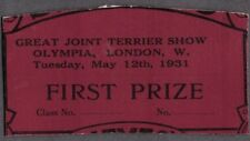 VINTAGE LITHO '31 1ST PRIZE GREAT JOINT TERRIER OLD SHOW DOG CARD LONDON ENGLAND