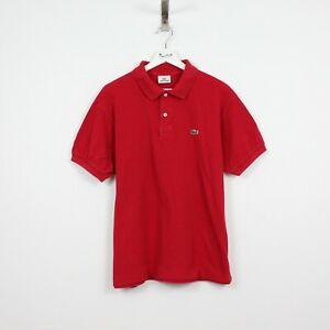 AE84 Vtg Lacoste Polo Mens Red Short Sleeve Cotton Shirt Size 7 XXL
