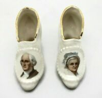Vintage George and Martha Washington Portrait Porcelain Miniature Boot Shoes