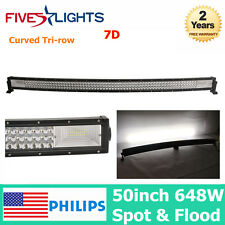 "7D TRI ROW 50INCH 648W CURVED LED LIGHT BAR SPOT FLOOD WORK CAR BOAT 51"" 52""JEEP"
