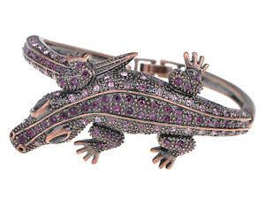 Copper Purple Crystal Rhinestone Crocodile Cuff Bracelet Hot Bangle