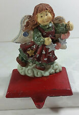Vintage Angel Stocking Holder 4in Ceramic Christmas Stars Hearts Mantel Hanger