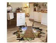 3D Bridge Stream Floor Wall Sticker Removable Mural Decals Home Art Decors