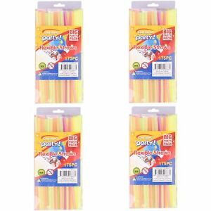 700pc Colourful Straight Straws Disposable Drinking Straw Plastic Party Straws