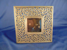 "Beautiful metal picture frame overall size 6 1/2"" square picture 2 1/2"" family"