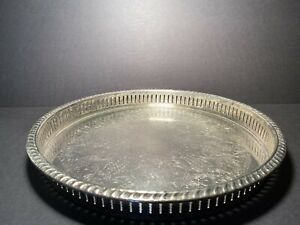 Vintage F.B. Rogers Silver Co 1883 Crown Round Serving Tray Open Vertical Slats
