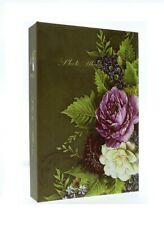 "Green Slip In Photo Album 200 6"" x 4"" Photos Memo Area Flowers Birthday Gift"