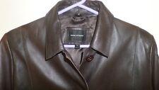 House Of Fraser Women's Soft Brown Leather Blazer Jacket Coat L Large 14-16