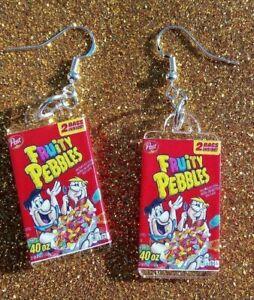 Fred Barney Flintstones Fruity Pebbles Cereal Funky Food Dangle Earrings