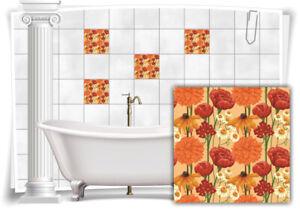 Fliesen-Aufkleber Fliesen-Bild Mosaik Kachel Struktur Blumen Rosen Rot Orange WC