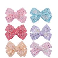 """2Pcs4"""" Cute Hair Bow For Girls Sweet Cute Hair Clips Rhinestone Ribbon Hairgrips"""