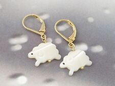 White sheep earrings - mother of pearl lamb, 14k gold-plated lever backs