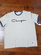 Mens Champion Heritage Ringer Tee Flocked spellout logo Size XXL