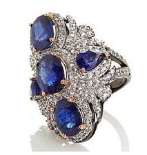 Rarities w/Carol Brodie Sapphire &White Zircon Blk Rhd Plated Sterling Ring Sz 6