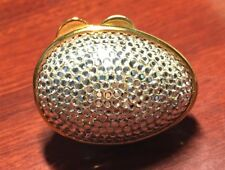 Judith Leiber Egg OVAL White Rhine Gold Crystal PillBox Bag Purse Lieber Vintage