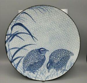 VTG Quail and Millet Large Charger Plate Sometsuke Blue White Porcelain Japan