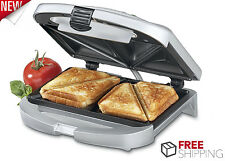 Grill Sandwich Maker Dual Electric Breakfast Nonstick Kitchen Toaster Silver