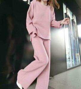 2PC Suit Women's Cashmere Blend Sweater Tops Wide Leg Pants Knitting Fashion Hot