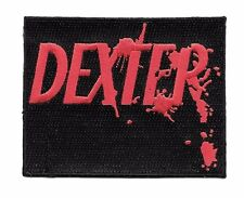 Dexter Red Logo on Black Embroidered Iron On Patch