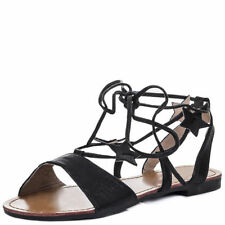 Flat (0 to 1/2 in.) Leather Unbranded Lace Up Sandals & Flip Flops for Women