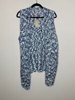 Chico's 3 Blue Knit Sweater Open Front Vest Mae Marled Sleeveless NWT Women's