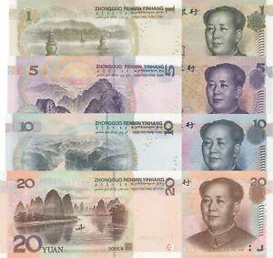 China 4 Note Set: 1, 5, 10 & 20 Yuan (1999/2005) - p895, p903, p904 & p905 UNC