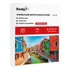 Koala 110 Sheets 8.5x11 Premium Double Sided Matte Inkjet Printer Photo Paper HP
