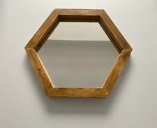 Hexagonal Hexagon Geometric Mirror Solid Wood Hand Made Finished In Dark Oak