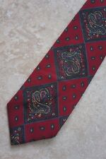 Saks Fifth Avenue 100% Wool Neck Tie Paisley Square Red