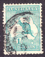 AUSTRALIA #10 1sh BLUE GREEN, 1913 Wmk.8, F, CDS