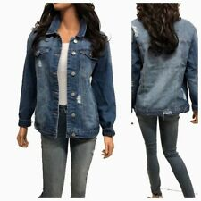 Women's Causal  Long Sleeve  Loose Fit Denim Jean Jacket(S-3XL)