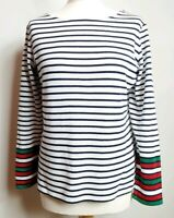 Boden (UK Size 14) Black & White Striped Cotton Top Long Sleeve with Glitter