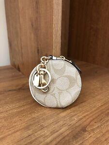 Coach Circular Coin Pouch Purse Bag Charm Light Khaki Canvas Round Keychain