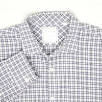 Billy Reid Mens Shirt L Standard Cut Blue White Check Plaid Button Front Cotton