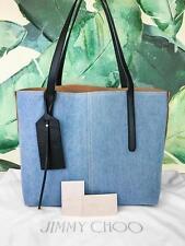 $995 JIMMY CHOO Twist East West Blue Denim Leather Tote Bag Two-tone SALE! NEW