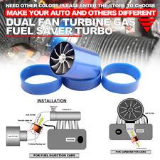 Blue Air Intake Turbonator Single Fan Turbine Turbo Supercharger Gas Fuel Saver