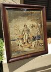 EXCEPTIONAL FRAME 1850s NEEDLEPOINT PETITPOINT TAPESTRY HUNTING SCENE WAVY GLASS